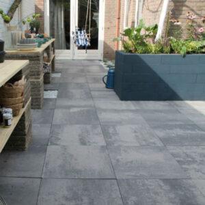 Basissteen betontegel 60x60 grijs/zwart